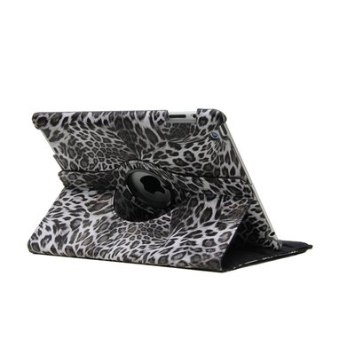 iPadspullekes.nl iPad hoes 360 graden Luipaard print grijs