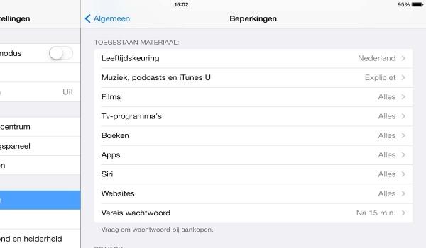 iPad leeftijd beperking menu