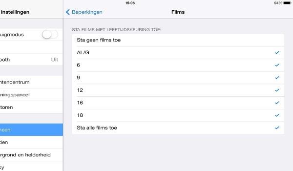 iPad beperking leeftijd films