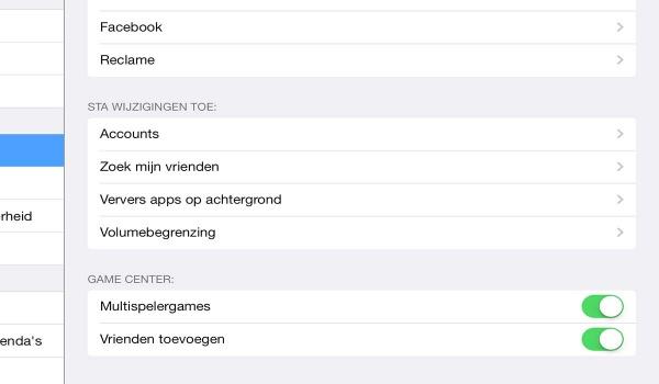 iPad wijzigingsrechten instellen