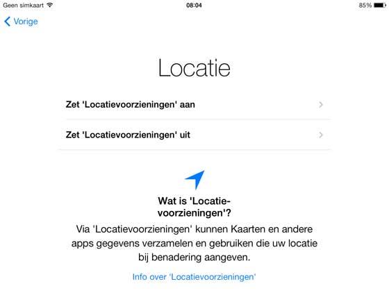 iPad handleiding locatie voorziening