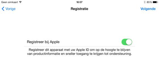 ipad handleiding registratie