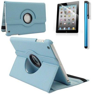 iPadspullekes.nl iPad Mini 4 hoes 360 graden leer licht blauw