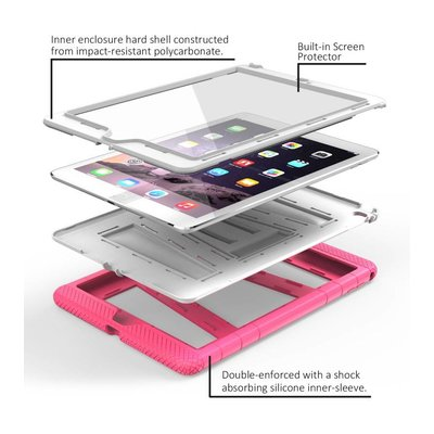 i-Blason ArmorBox 2 Layer Full-Body Protection KickStand Case for iPad Air 2 roze en wit
