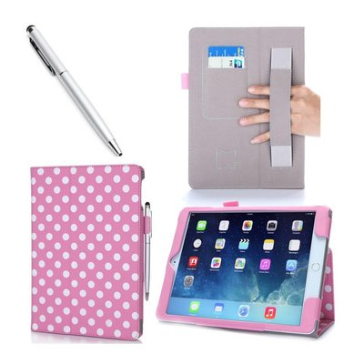 i-Blason iPad Air 2 Leather Slim Book Case roze met witte stippen