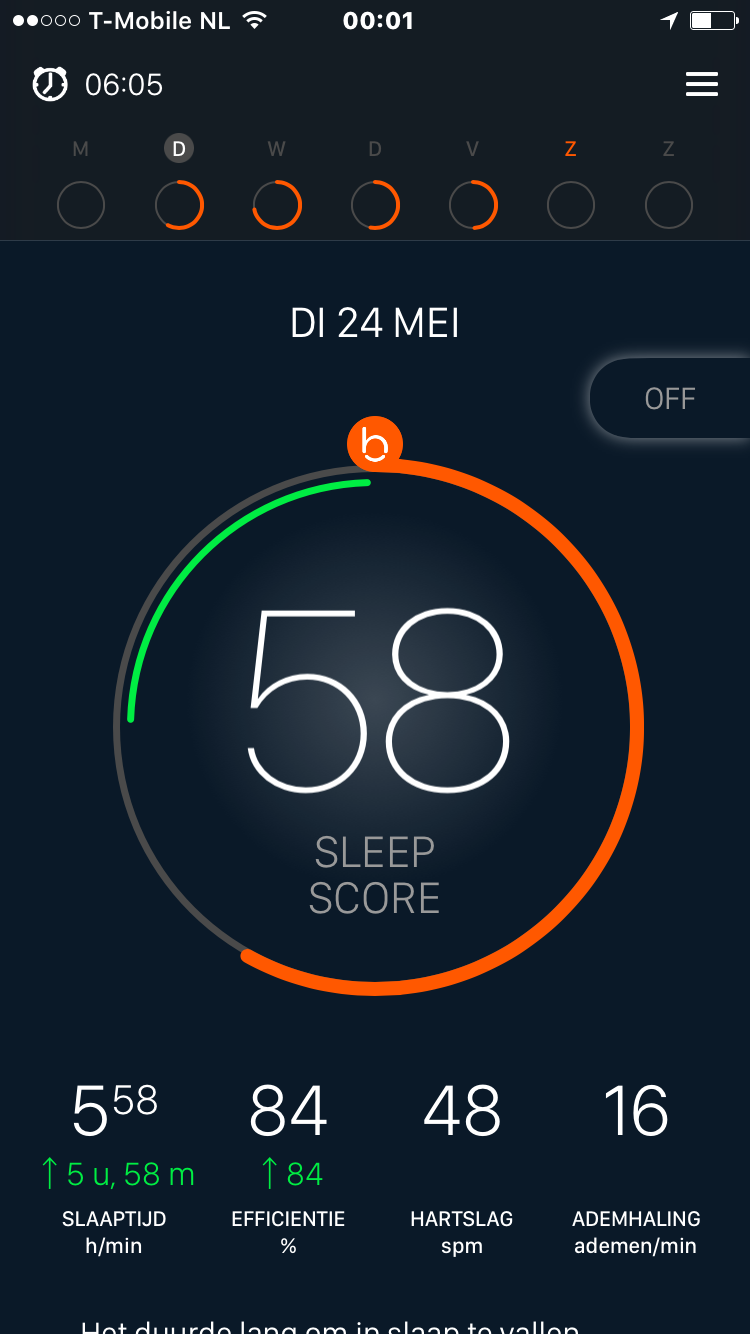 Beddit Smart Slaaptracker APP score