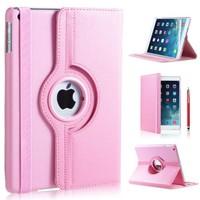 iPad 2017 hoes 360 graden licht roze leer