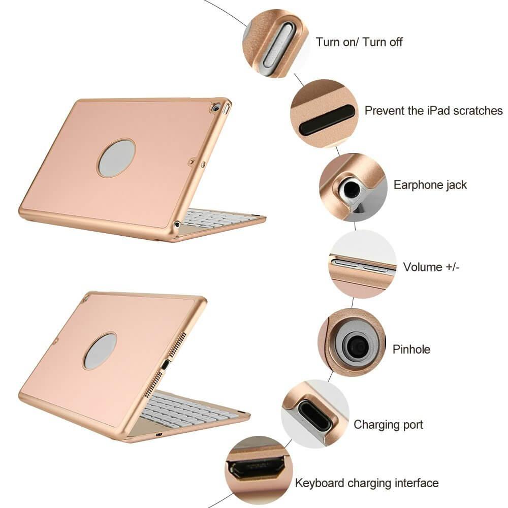 iPad Air met toetsenbord met hoes goud