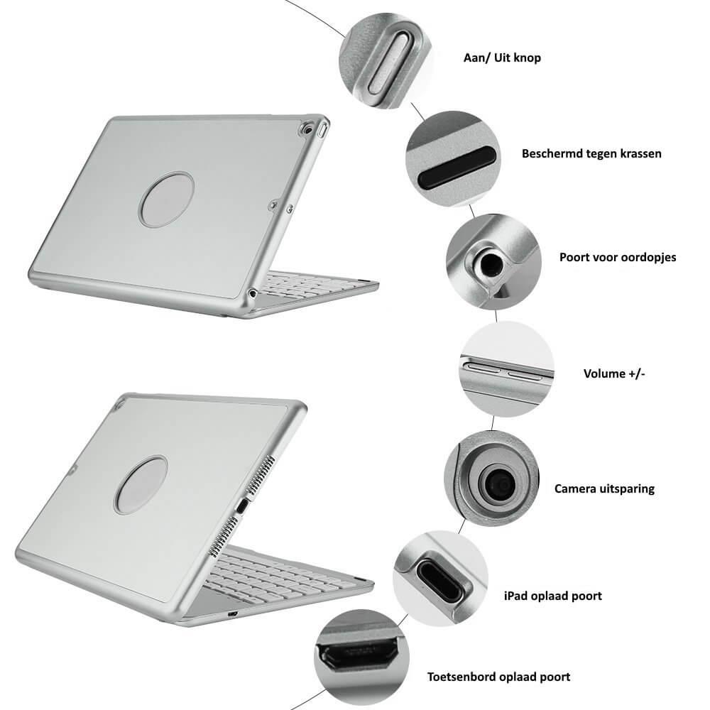 iPad 2017 met toetsenbord met hoes zilver