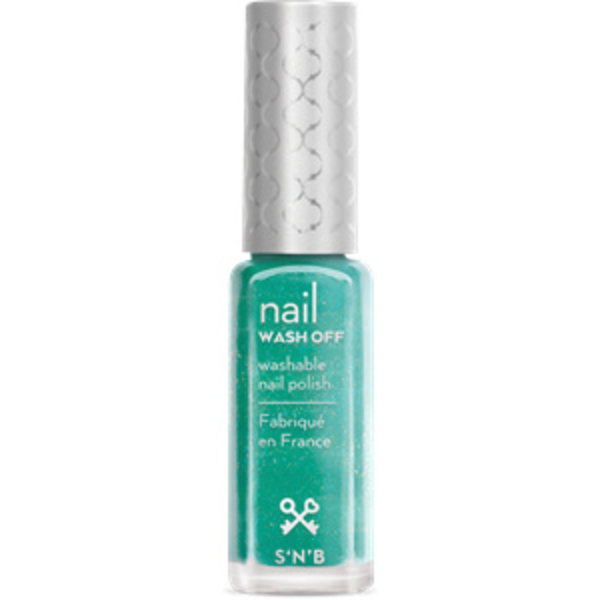 Wash Off Pastel-Turkoois Glitter Glam Nagellak