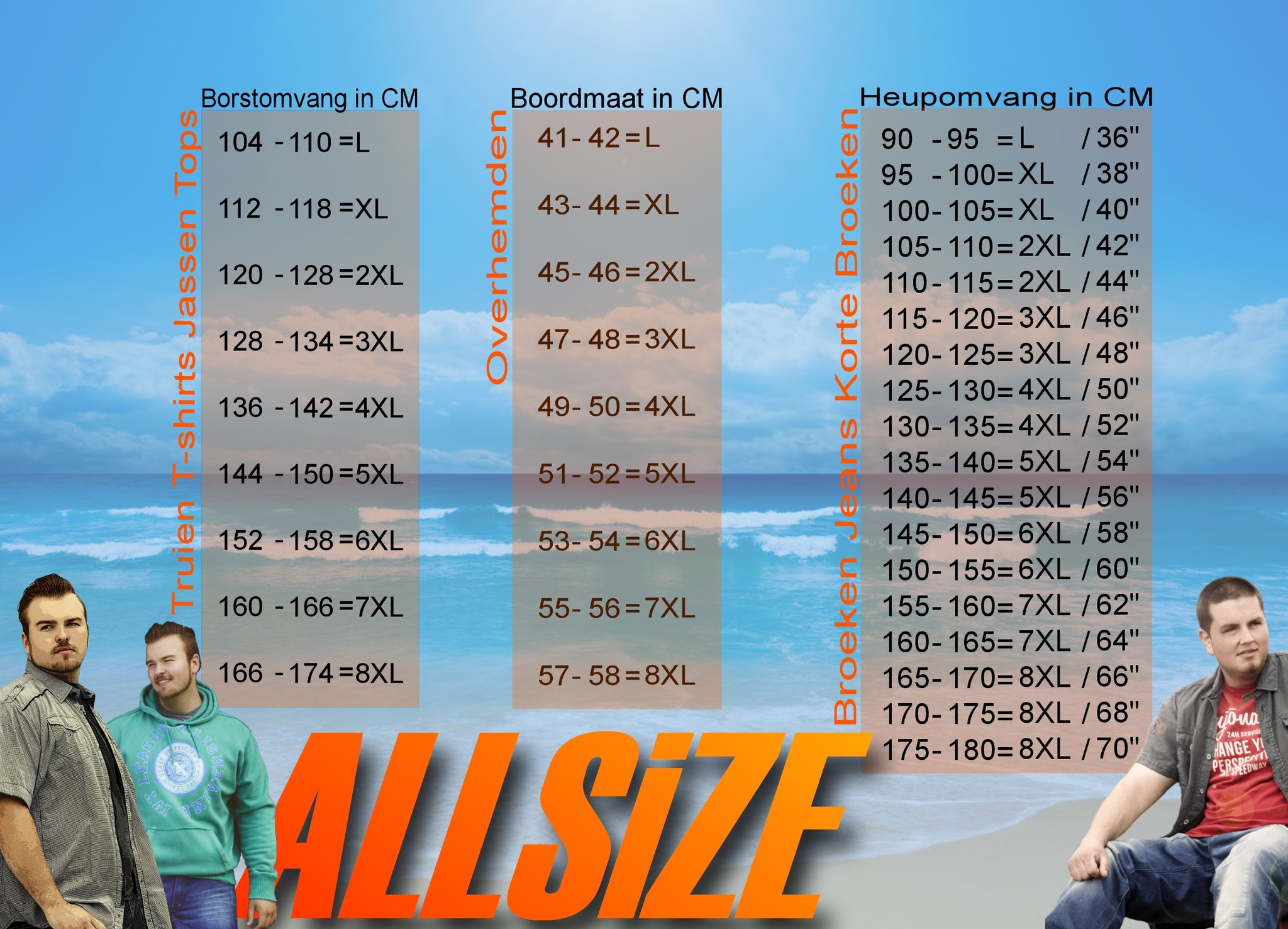 Maat tabel Greyes / Allsize