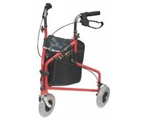 3 wiel rollator verstelbaar rood