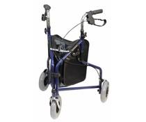 3 wiel rollator verstelbaar blauw