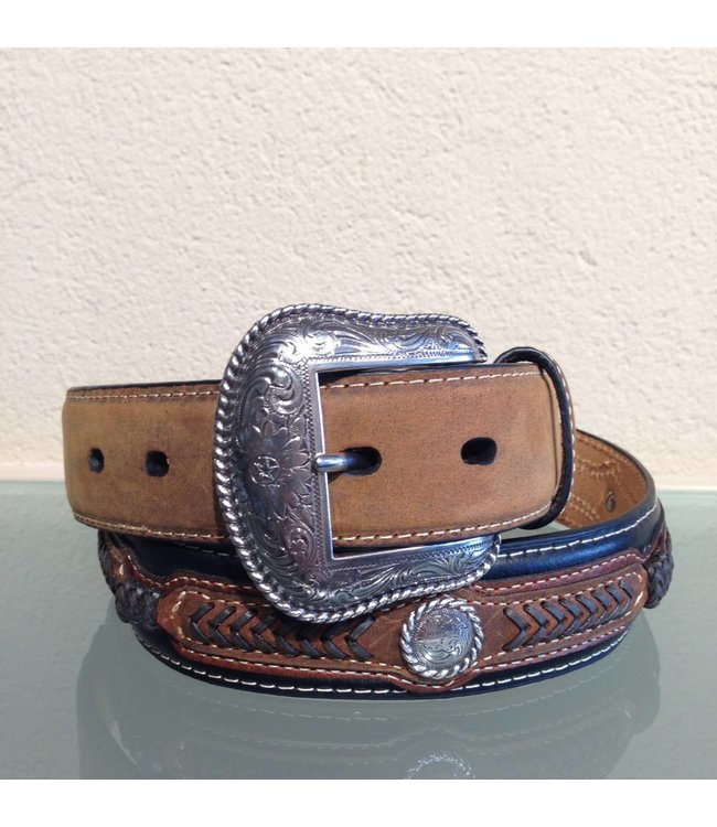 Nocona Black and brown leather belt with uplay and concho's