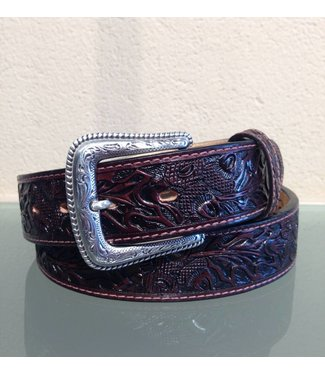 Nocona Dark brown leather belt for men floral tooled