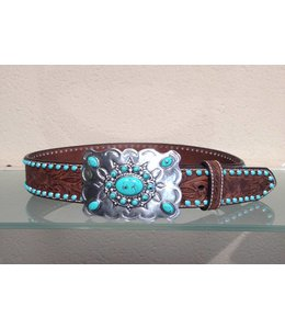 Nocona Brown Leather Belt for women with Turquoise Studs