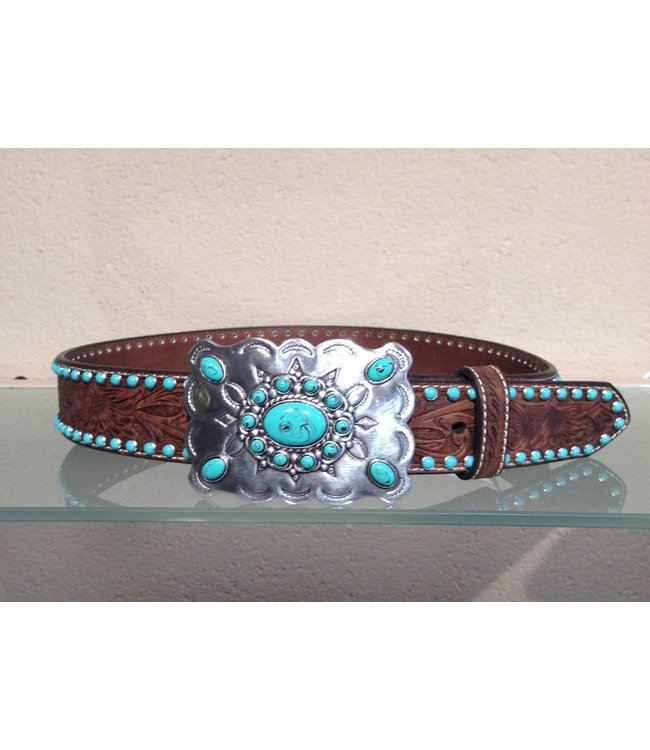 Nocona Brown Leather Belt for women with Turquoise Studs and Floral Tooled with silver-colored buckles