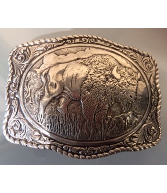 Crumrine Western Buckle with Buffalo and Landscape