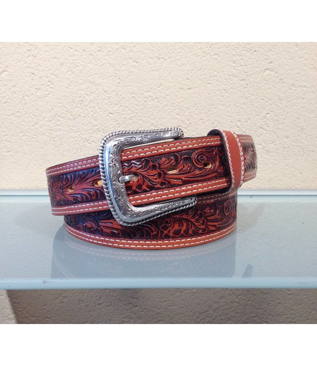 Nocona Cognac leather belt floral tooled for men