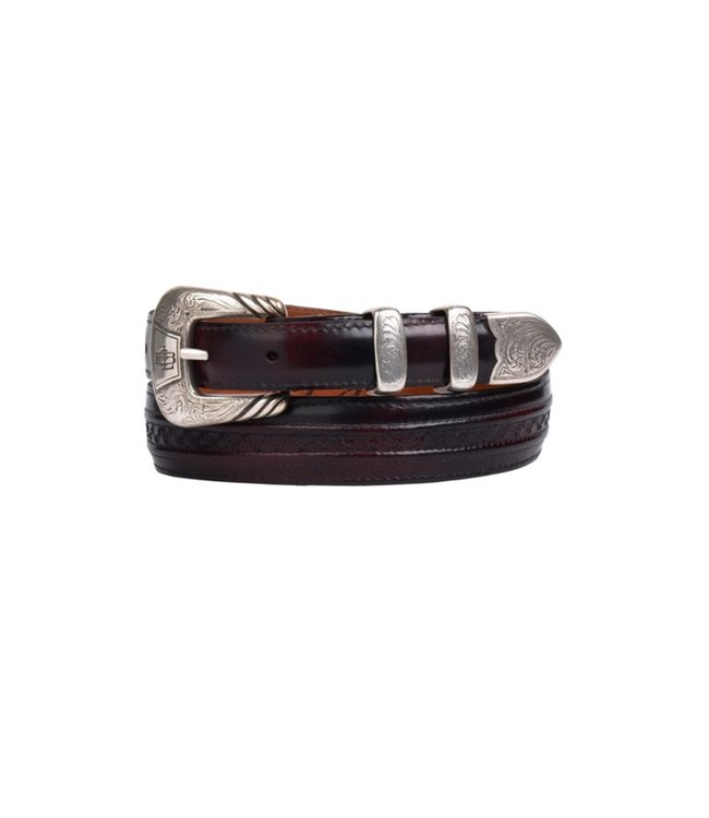Lucchese 1883 Dark red goat leather belt Black Cherry Goat