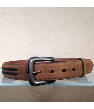 Nocona Brown leather belt withbraided details