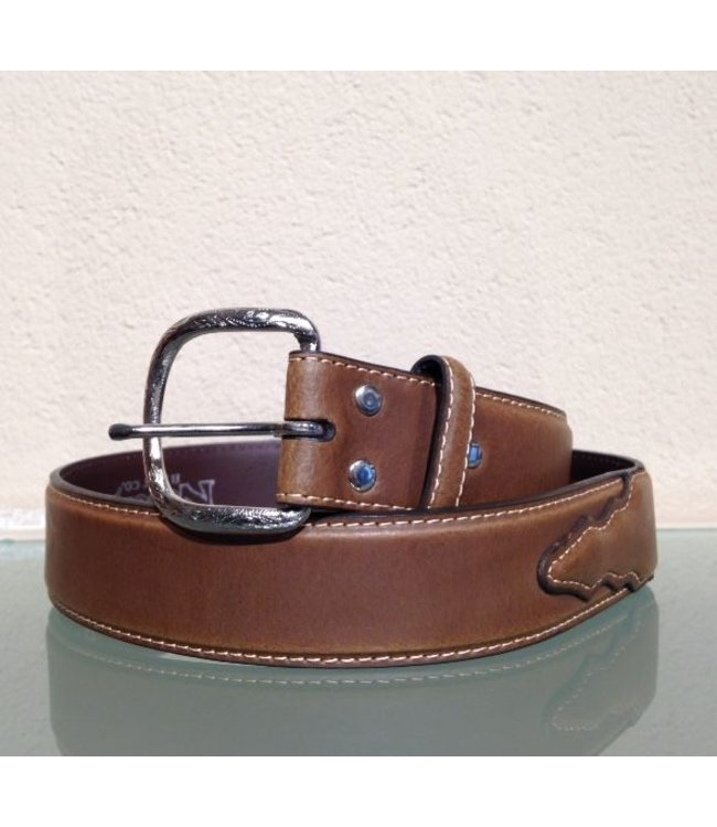 Nocona Men's belt Brown leather with uplay