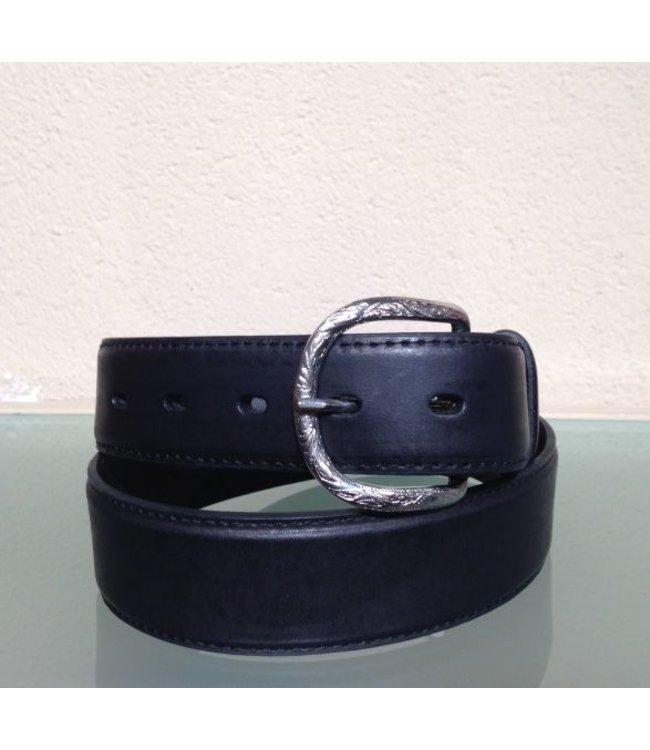 Nocona Black leather belt with uplay