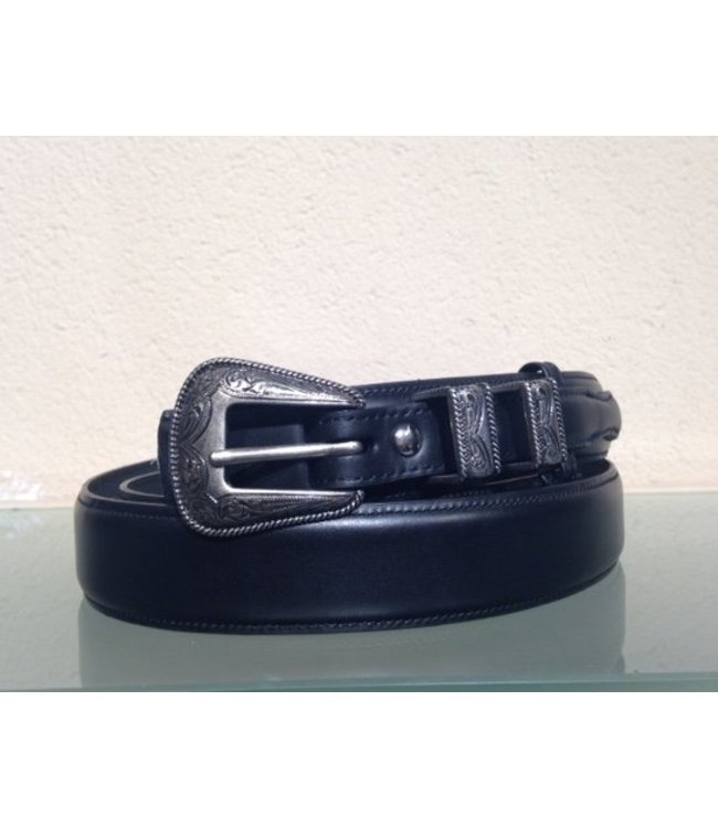 Nocona Black leather belt metal tip