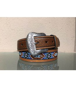 Nocona Brown Leather Belt with indian beads