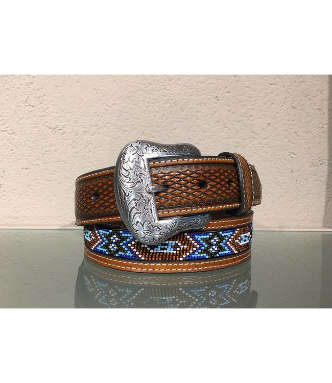 Nocona Leather belt with indian beads