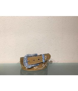 Nocona Embroidered leather belt for women with rhinestones