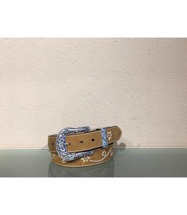 Nocona Embroidered leather belt with rhinestones