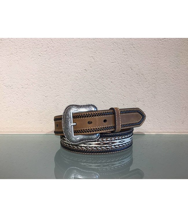 Nocona Leather belt with braids and inlaid horse hair