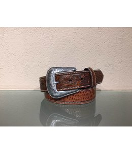 Nocona Men's belt tooled leather and gator print
