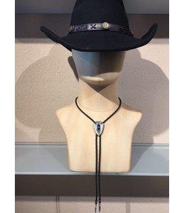 Bolo tie arrowtip with black stone