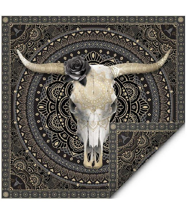 PÔDEVACHE Large silk scarf with longhorn skull golden coloured