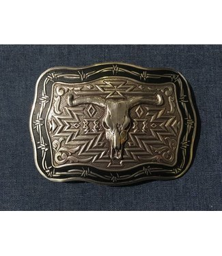 Crumrine Western buckle with skull buffalo