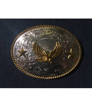 Silver colored buckle with golden eagle