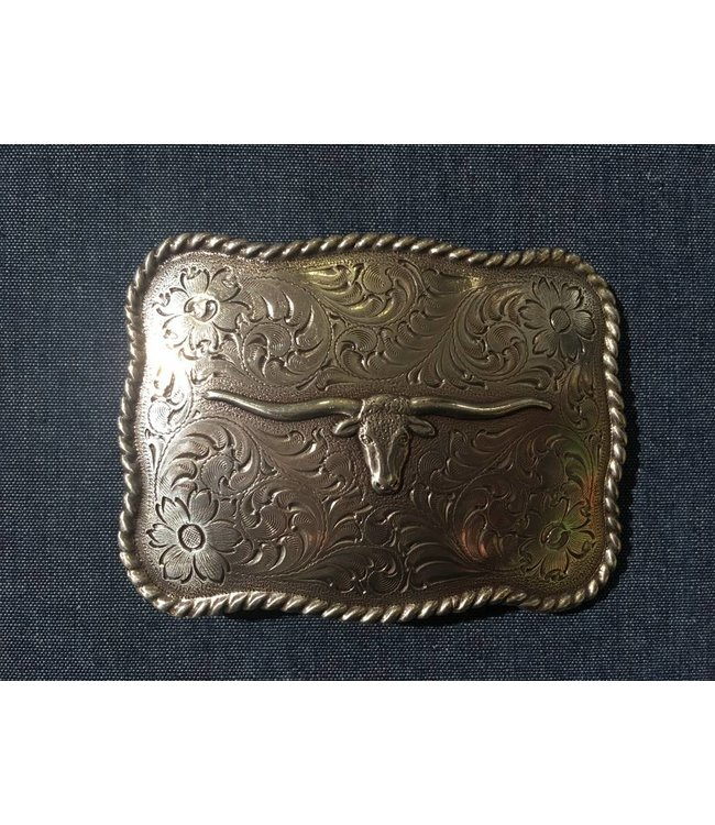 Nocona Silver colored buckle with longhorn cow