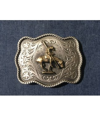 Silver colored buckle with golden horse