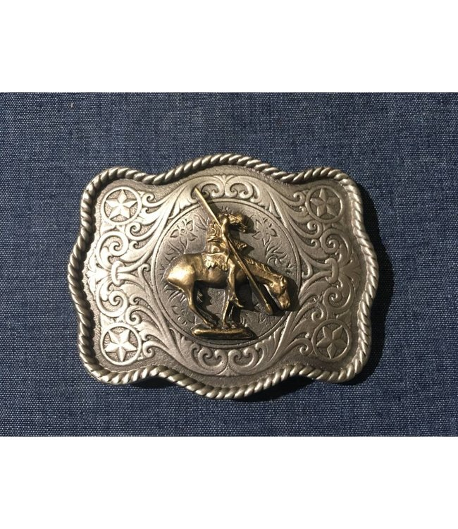Silver colored buckle with golden colored horse