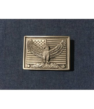 Silver colored buckle with eagle