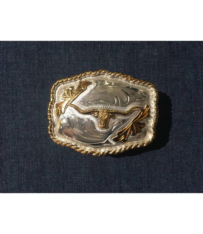 Silver colored buckle with golden colored details