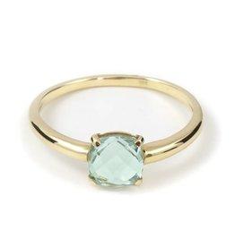 Navarro Ring - Goud + Groenen Amethist