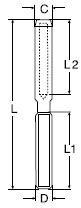 Rvs Studterminal links AISI-316, voor staalkabel 3mm tot 8mm
