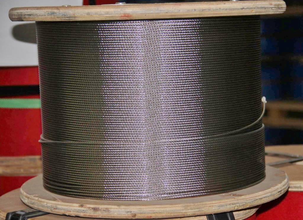 Rvs Staalkabel 7x7 AISI-316 1000 mtr.  op haspel 0,63mm t/m 8mm