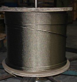 Rvs Staalkabel WS 6x36+stk. AISI-316 1000 mtr. haspel