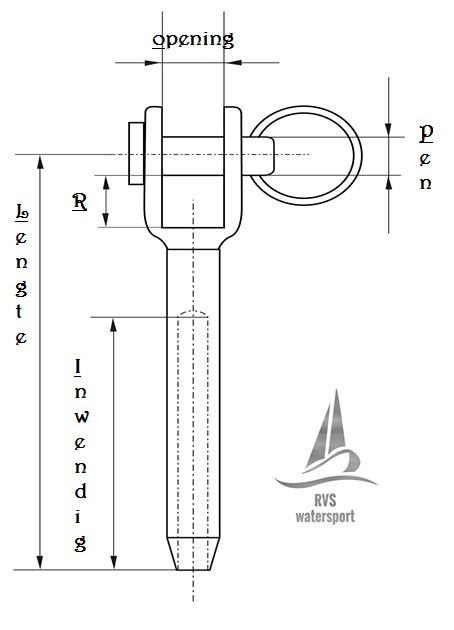 Rvs Gaffelterminal AISI-316,