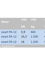 Fitnesskabel verzinkt Zwart omspoten 100 mtr.
