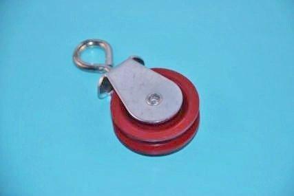 Rvs katrol met rode polyamideschijf 45mm